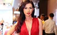 Quỳnh Chi diện váy đỏ rực xẻ ngực sâu đua vẻ sexy với Diễm My 9X