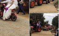 Màn rước dâu bằng 22 chiếc máy cày tại Nghệ An