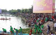 Hoa hậu cùng hàng nghìn người cổ vũ 600 vận động viên đua thuyền