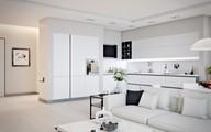Căn hộ màu trắng có thiết kế đẹp nhẹ nhàng với phòng khách liền kề nhà bếp