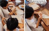 Mới 5 tuổi, con trai Tăng Thanh Hà đã ra dáng thanh niên khi vào bếp phụ mẹ nấu ăn