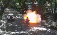 Hai bố con nguy kịch vì xe đạp điện phát nổ trên đường