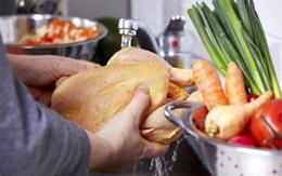 Kinh hãi hình ảnh vi khuẩn lây lan khi rửa thịt gà