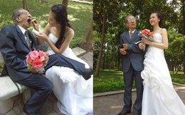 Ảnh cưới cụ ông và cô gái trẻ như học sinh ở Việt Nam gây xôn xao