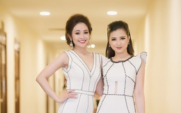 Dương Hoàng Yến - MC Thùy Linh lộng lẫy như chị em sinh đôi