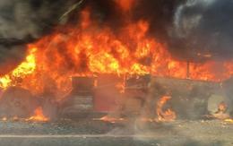 Xe tải bốc cháy dữ dội khi đang lưu thông trên quốc lộ 1