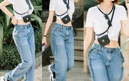 """Khoe quần jeans """"trước sau như một"""", tưởng không ai dám mặc hóa ra Ngọc Trinh lại đụng hàng với cô em chân siêu dài nhà Kim"""