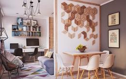Căn hộ hình vuông với diện tích 40m² nhưng không hề bị giới hạn không gian do áp dụng phương pháp này trong thiết kế