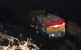 Nghệ An: Húc phải trâu, xe buýt lao xuống ruộng lật nghiêng