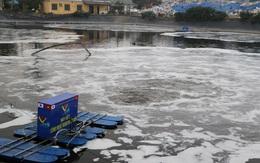 Cận cảnh hồ nước rác Nam Sơn tung bọt trắng xóa khi xử lý mùi hôi thối bằng công nghệ Nhật Bản