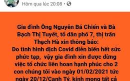 Cán bộ huyện ở Hà Tĩnh hoãn cưới con lần thứ 3 vì dịch COVID-19