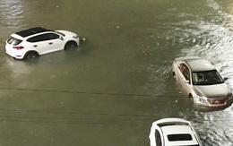 """TP Quảng Ngãi: Đường sá ngập sâu, nhiều ôtô """"bơi"""" giữa nước"""