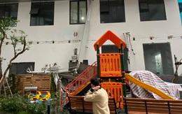 Lực lượng chức năng đến tìm hiểu vụ sập giàn điều hòa tại chung cư An Bình Plaza - Hà Nội