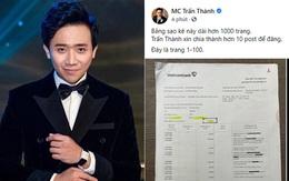 """Chứng minh không """"ăn chặn"""" 120 tỷ đồng, MC Trấn Thành đăng toàn bộ sao kê tiền từ thiện hơn 1000 trang"""