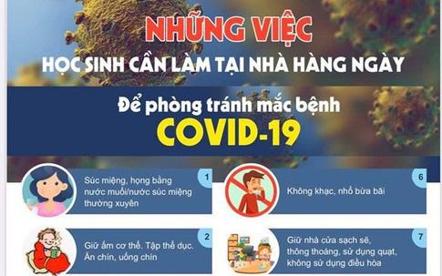 10 điều học sinh cần làm tại nhà để phòng tránh mắc bệnh COVID-19