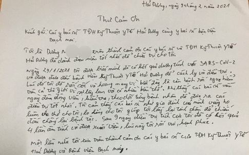 Xúc động những lá thư gửi bác sĩ của các bệnh nhân vừa được chữa khỏi COVID-19 tại Hải Dương
