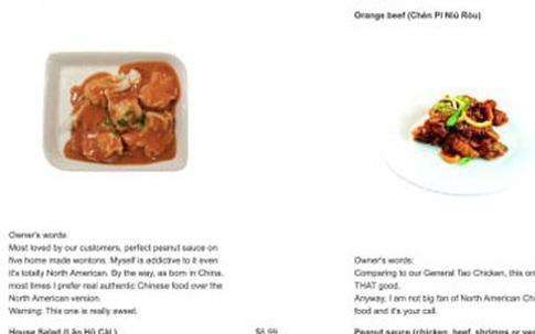 Thực đơn trung thực đến kinh ngạc của nhà hàng Trung Quốc