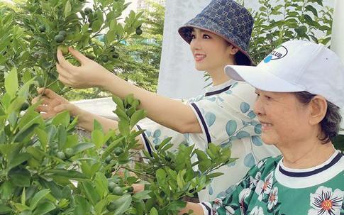 Hoa hậu Giáng My cùng mẹ trổ tài làm vườn trên sân thượng