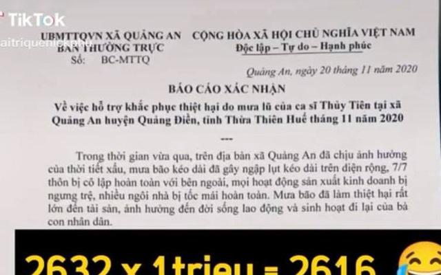 Phát hiện loạt chi tiết không minh bạch trong giấy tờ xác nhận làm từ thiện ở địa phương của Thủy Tiên?