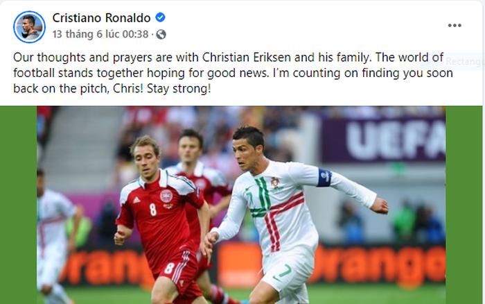 Sau pha ngưng tim của tiền vệ Eriksen, Ronaldo có hành động khiến triệu fan nức lòng, Thủ tướng Anh nhận... - mega 645